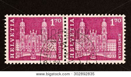 Seattle - May 14, 2019: Two Swiss Helvetia Stamps From 1963 Definitive Series, Featuring Einsiedeln