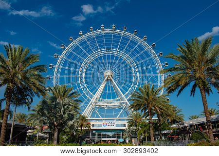 Orlando, Florida. May 16, 2019. Orlando Eye Ride Experience.the Wheel At Icon Park Orlando Is A 400-