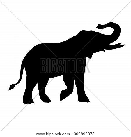 Vector Flat Black Silhouette Of African Elephant Isolated On White Background