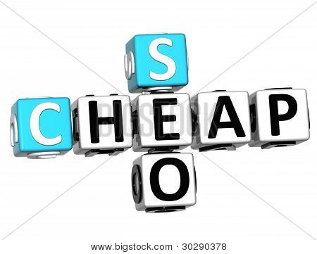 3D Cheap Seo Crossword On White Backgrond