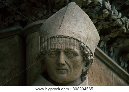 Reims France May 23, 2019 Closeup Of The Statue On The Exterior Facade Of The Notre Dame De Reims Ca
