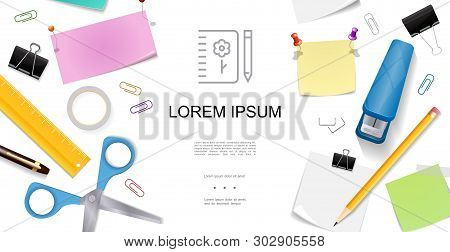 Realistic Stationery Concept With Colorful Paper Sheets Ruler Scissors Pushpins Pencil Pen Stapler A