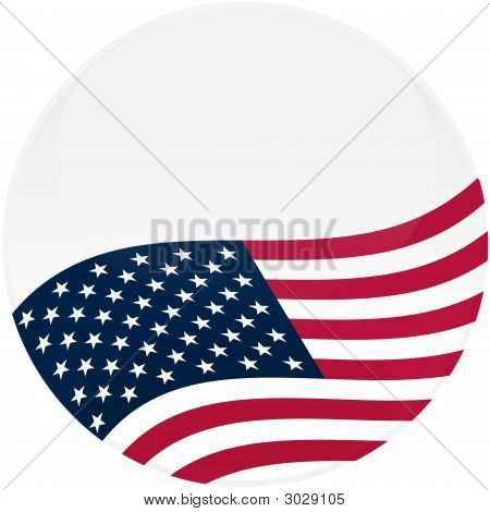 White Button With American Flag
