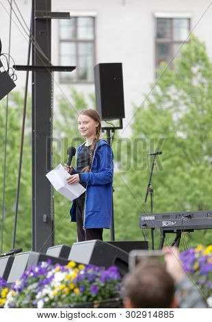 Stockholm, Sweden - May 24, 2019: Greta Thunberg And The Global Strike For Future, A Demonstration T