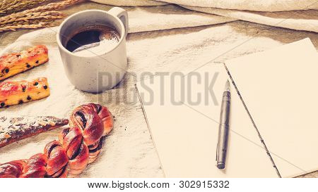 Breads And Toast For Breakfast With Notebook On White Bed Sheet Background, Healthy Breakfast. Morni