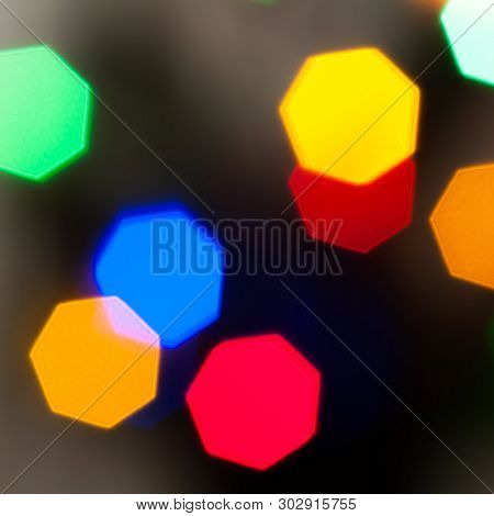 Colourful Festive Multi-colored Circles . Defocused Abstract Multicolored Bokeh Lights Background.
