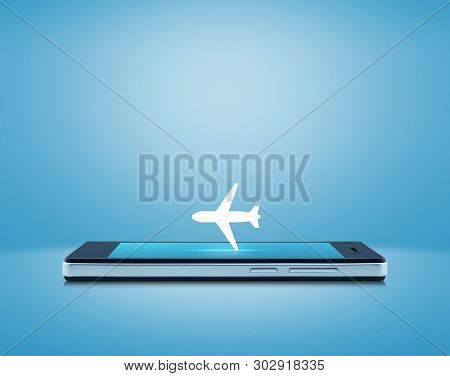 Airplane Flat Icon On Modern Smart Mobile Phone Screen Over Gradient Light Blue Background, Business