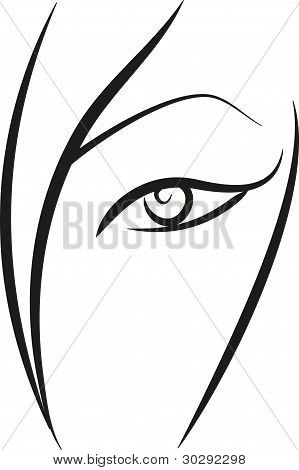 Concise black-and-white sketch of woman's face part poster