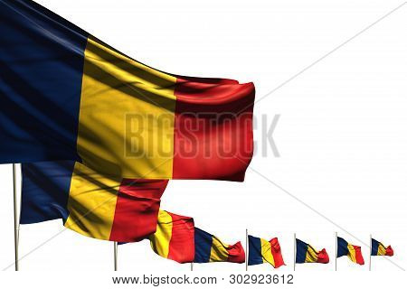 Cute Independence Day Flag 3d Illustration  - Many Romania Flags Placed Diagonal Isolated On White W