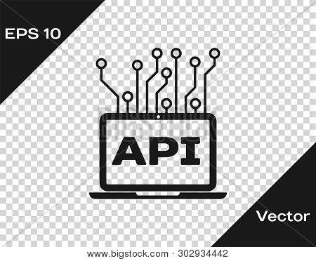 Grey Computer Api Interface Icon Isolated On Transparent Background. Application Programming Interfa