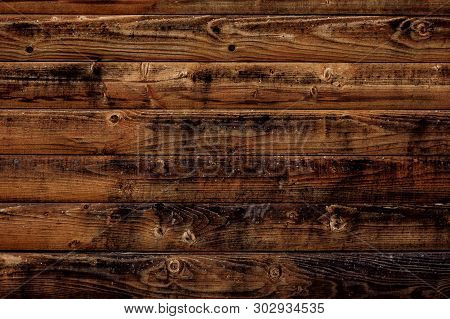 Old Wood Texture Background. Dark Brown Wooden Boards, Planks. Surface Of Dark Shabby Weathered Parq