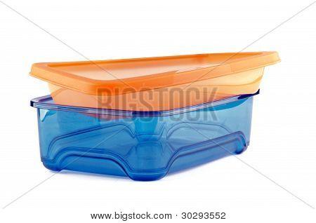 Blue and orange Plastic Container