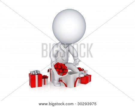 3d small person opening the gift box.