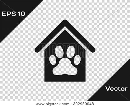 Grey Dog house and paw print pet icon isolated on transparent background. Dog kennel. Vector Illustration poster