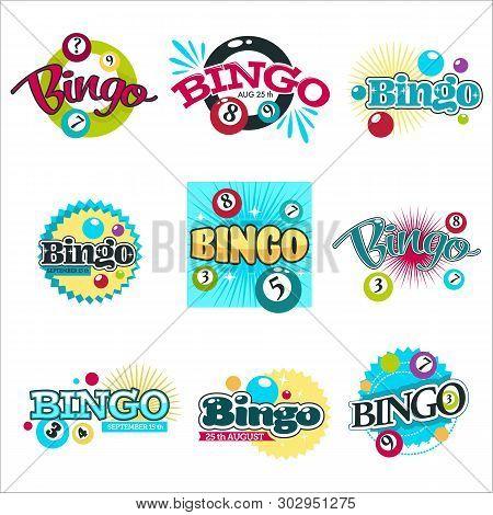 Bingo Game Isolated Icons Gambling Equipment Balls With Numbers