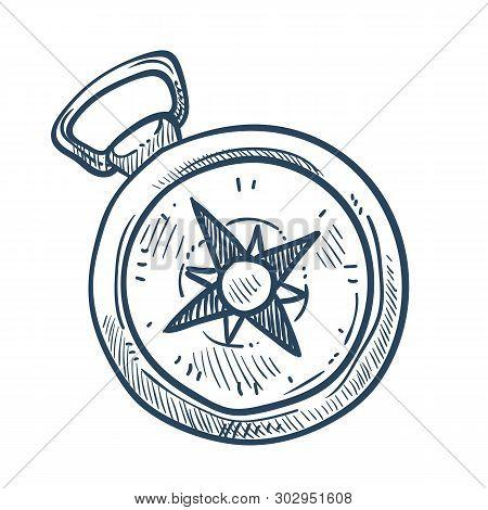 Compass Isolated Sketch Marine Navigation Nautical Equipment