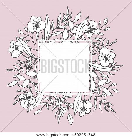 Flower Square Frame Floristic Decor Greeting Card