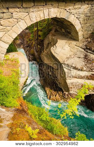 Tourist Attraction In Norway, Europe. Gudbrandsjuvet Waterfalls Located In The Valldalen Valley, Bet