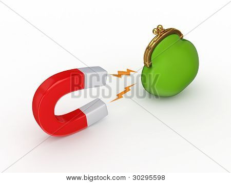 Magnet and green purse.