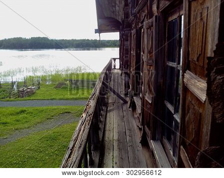 The Island Of Kizhi Located In Lake Onega. Republic Of Karelia. The Construction Of The Church. The