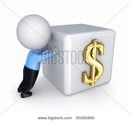 3d small person and dollar symbol.