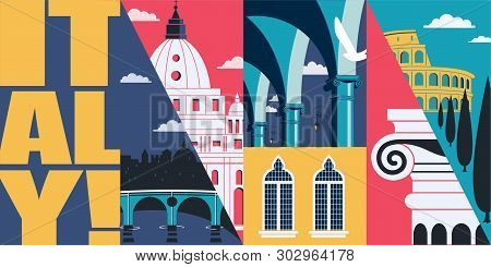 Italy Vector Skyline Illustration, Postcard. Travel To Italy, Rome Modern Flat Graphic Design Elemen