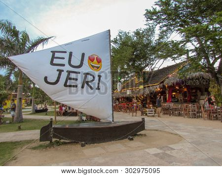Jericoacoara, Brazil - 9 January 2019: I Love Jericoacoara Message In Portuguese Eu Amo Jeri On Sail