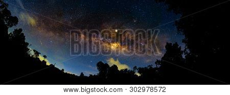 Night Scenery With Colorful And Light Yellow Milky Way Full Of Stars In The Sky In Summer Beautiful