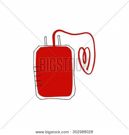 Modern Medical Hand Drawn Vector Illustration. Single Chamber Container For Blood Storage. Blood Tra