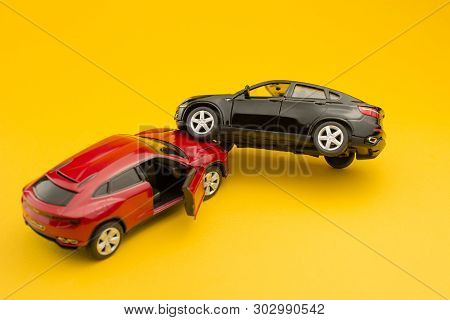 Car Crash, Road Accident, Damaged  Toy Cars After Collision