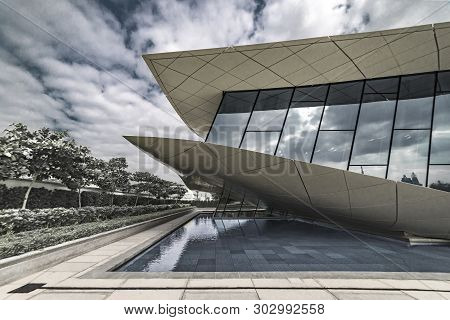 Union Museum, Etihad, Dubai, United Arab Emirate - Jan.4, 2018: The White Wing Of The Pavilion Of Th