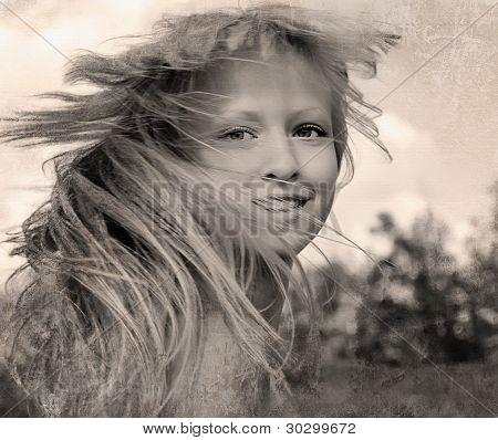 Retro style photo of happy girl