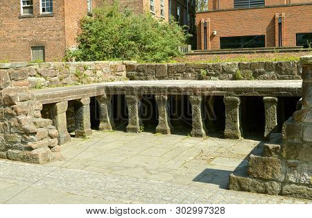 Chester, Cheshire, England, Uk, Europe - April 19, 2019 : Roman Bath Ruins In Roman Gardens In Chest