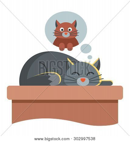 cute cat dreams of another cat. lying on the table with eyes closed. character illustration. poster