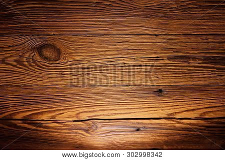Illuminated Wooded Panel As Background Image. Torfhaus, Germany
