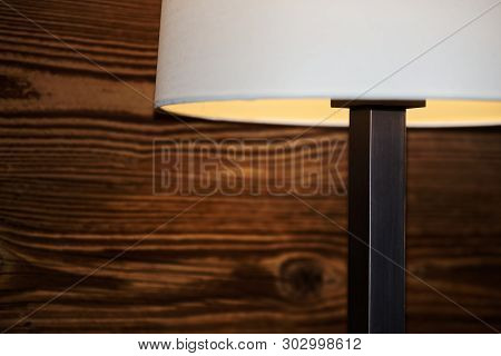 Part Of A Floor Lamp Against Wooden Wall. Torfhaus, Germany