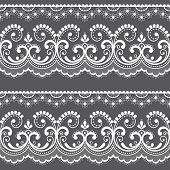 Victorian lace seamless design, old fashioned repetitive design with flowers and swirls in white on gray background. Detailed laces frame, retro textile decoration with graphics inspired by French and English wedding lace set poster