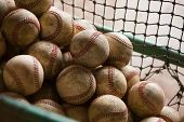 A netted basket of worn, dirty, practice baseballs with evening light. Nostalgic. poster