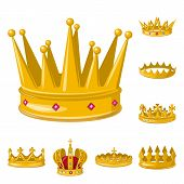Vector design of monarchy and gold icon. Collection of monarchy and heraldic vector icon for stock. poster