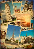 Vintage travel background with retro photos of european landmarks. Eiffel tower in Paris, Leaning Tower of Pisa, Colosseum in Rome, old houses in Amsterdam poster
