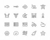 Set of Seafood Line Icons. Fishbone, Fish, Flounder, Eel, Turtle, Crab and more. poster