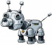 A cute, metallic cartoon robot dog with antenna. poster