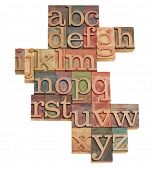 alphabet - abstract of vintage wooden letterpress printing blocks stained by color inks, isolated on white poster