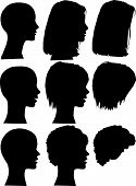 3 profile silhouettes of women & silhouettes of beauty salon hair styles. Long hair short hair curly hair. Each element on a layer. poster