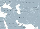 Southwest Asia, political map with borders. Also called Western, West or Southwestern Asia. Subregion, overlapping with Middle East, including Caucasus. Gray illustration on white background. Vector. poster