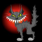 Wild wise and artful grey cat with big green eyes and wide smile. poster