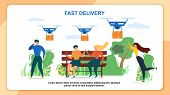 Cartoon People Recieve Mail Package. Fast Delivery Vector Illustration. Air Dron Shipping, Quadcopter Device Flying, Multicopter Transportation Service. Express Shopment. Future Technology poster