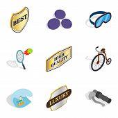 Bounty icons set. Isometric set of 9 bounty icons for web isolated on white background poster