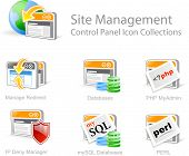 A series of icons symbolizing various site management controls for websites including manage direct databases php Myadmin IP Deny Manager mySQL databases and PERL. poster