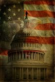 The United States Capitol American Flag and Bald Eagle with aged textured effect. poster